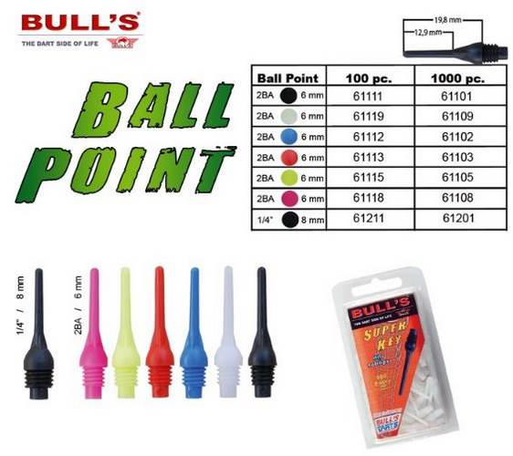 HROTY BALL POINT 2BA BULL´S 1000 KS BÍLÉ 61109